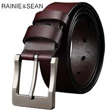 <b>RAINIE SEAN</b> Pin Buckle Belt For Trousers Man Waist Belt <b>Leather</b> ...