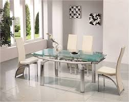 Ebay Dining Room Sets Donato Extending Glass Chrome Dining Room Table Ampamp 6 Chairs Set