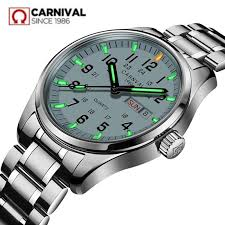 <b>Carnival</b> Tritium Light <b>men Watch</b> Quartz Double calendar Date ...
