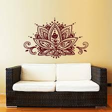 lotus flower wall decal yoga studio vinyl sticker decals mandala ornament moroccan pattern namaste home decor bohemian furniture