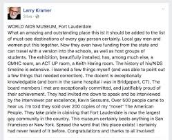 larry kramer facebook post jpeg mr kramer again praised the museum during his interview kevin sessums at sunshine cathedral on 10th hear his comments in the video
