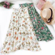Chiffon floral skirt women New small fresh thin <b>high waist A word</b> ...