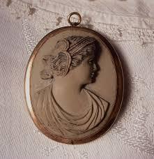 SALE Antique Victorian <b>LAVA</b> Cameo Pendant Brooch <b>High</b> Relief ...