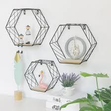 <b>Nordic Style Iron</b> Hexagonal Grid Wall Shelf – Valley Creations Decor