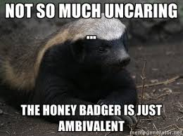 not so much uncaring … The honey badger is just ambivalent - Honey ... via Relatably.com