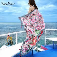 YIRANSHINI Summer <b>Cotton Tassel</b> Floral Print Shawls Cover Ups ...