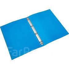 <b>Папка на</b> 4-х кольцах <b>Attache</b> синяя пластиковая корешок 32 мм ...