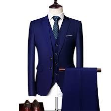 Jacket + Pant + Vest / <b>2019 New Men Business</b> Slim Suits Sets ...