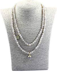 tom+alice Natural Grey Agate Necklace Long 6MM ... - Amazon.com