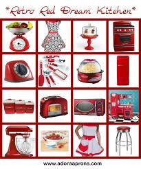 Red Retro Kitchen Accessories Retro Red Dream Kitchen Adora Aprons Blog Furniture Dining Room