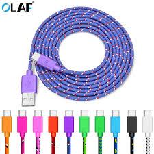 <b>OLAF Nylon</b> Braided USB <b>Type C</b> Cable 1M 2M 3M Data Sync Fast ...