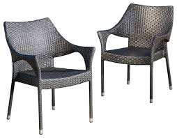 outdoor dining chairs set alameda outdoor gray wicker chairs set of  contemporary outdoor dining