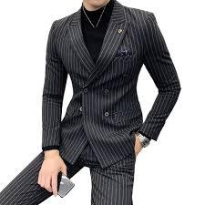 <b>Men</b> Double breasted Suit Two piece Slim Fashion Stripe <b>Autumn</b> ...