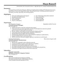 best network systems manager resume example livecareer choose