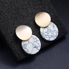 <b>Hot Selling</b> Double Round Stud Earrings White Black <b>Stone</b> ...