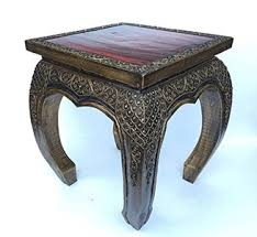 size home decor thai wood carving buddha thai antique handmade gold red and glass end table wood carved home de