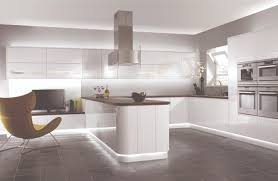 Concrete Floor Kitchen Contemporary White Kitchen With Glossy Wall Cabinets And Concrete