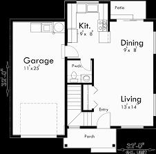 Duplex House Plans  Duplex Plans With Garages Together  D  Main Floor Plan