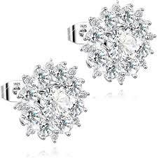 Amazon.com: <b>S925 silver needle</b> Platinum Plated Water Splash Ear ...