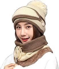 <b>3</b>-<b>Pieces Winter</b> Hat Scarf Mask Set, Warm Knit Beanie Hat and ...
