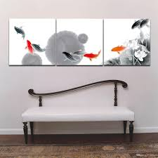 3 panel picture chinese ink style fish oil painting print on canvas for home living room bedroom bedroom furniture sticker style