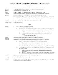 sample of a preparation outline for a persuasive speech merry thesis writing format ppt