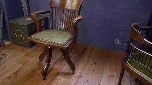 antique solid oak captains swivel desk chair youtube antique swivel office chair