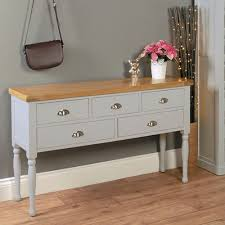 baumhaus chadwick console table with 5 drawers grey painted with oak top baumhaus chadwick grey painted hidden home office