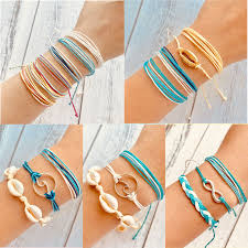 17KM Bohemian Shell Rope Ins Bracelets Set For <b>Woman Multilayer</b> ...