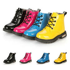 <b>NEW</b> Children Kids Girls <b>Patent Leather Martin</b> Boots Winter Shoes ...
