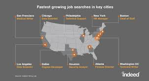 the fastest growing job searches in key us cities indeed blog map fastest growing job searches in key cities across the country