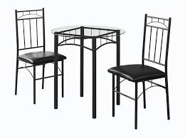 Monarch Specialities Dining Set <b>3Pcs</b> Set White Metal <b>Tempered</b> ...