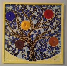 mosaic wall decor: custom made wall decor tree mosaic with colored rondelles