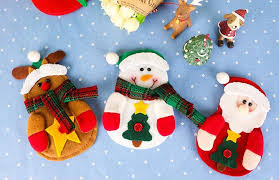 household dining table set christmas snowman knife: pcs sock tableware cutlery bags dining christmas pretty table halloween decorations fork pocket navidad bagsnowflake pattern
