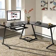 best choice products l shape computer desk pc glass laptop table workstation corner home office amazoncom coaster shape home office