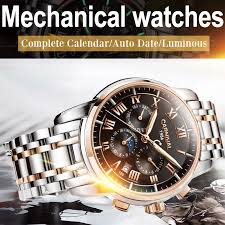 Mens Automatic Mechanical Watches <b>Waterproof Calendar</b> ...