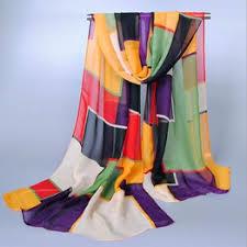 Fashion Geometry Print Scarves Women Patchwork Silk ... - Vova