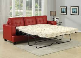 living room mattress: adorable red leather sleeper sofa design with white mattress for living room
