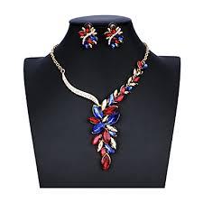 Women's Blue Red White Bridal <b>Jewelry</b> Sets Link / Chain <b>Leaf</b> ...