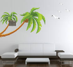 palm tree wall stickers: new  larger tall palms tree wall sticker pvc wall paper home decor coconut tree birds wall decals free shipping