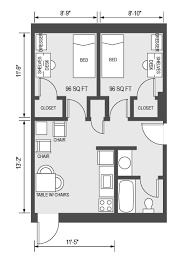 University Housing   Virtual Tour   WoodrowTypical Floor Plan