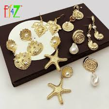 F.J4Z New <b>Hot Seashell Earrings</b> Fashion Alloy Conches Simulated ...