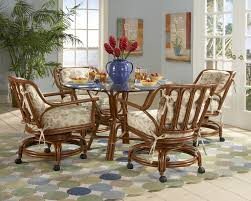 Dining Room Chairs With Arms And Casters Amazing Breakfast Nook Design With Round Gl Top Dining Table Added