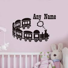 dctop any name kids wall decal long range cartoon train vinyl wall sticker home decor for range bedroom furniture