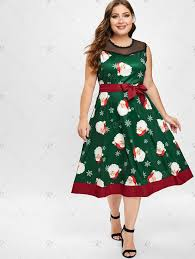 <b>Christmas Santa Print</b> Sleeveless Plus Size Dress | Plus size vintage ...