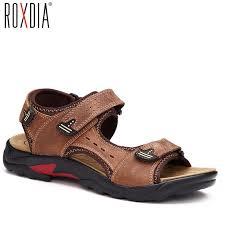 ROXDIA <b>mens</b> beach <b>sandal</b> genuine <b>cow leather</b> summer <b>men</b> ...