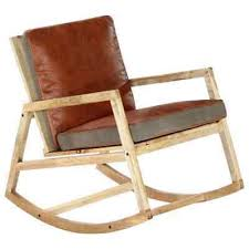 <b>Rocking Chair Brown Real</b> Leather and Solid Mango Wood | eBay