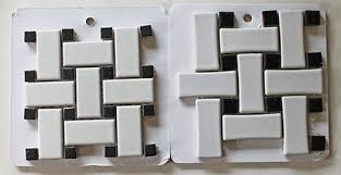 vintage tile white colored merola tile basket weave two sizes