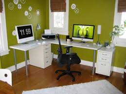 decoration surprising decorate small office design ideas home interior with green paint wall and laminate flooring amazing home office interior