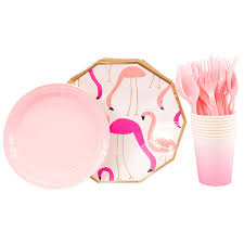 <b>40pcs Flamingo</b> Creative design Party Disposable tableware Set ...